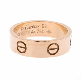 Cartier Love 18K Rose Gold Band Ring Size 53