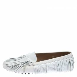 Tod's White Leather Yorky Gommino Fringe Loafers Size 37 243679