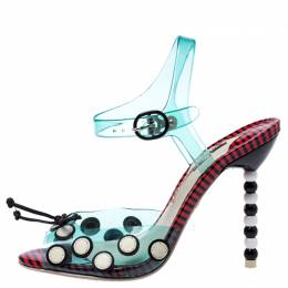 Sophia Webster Multicolor Jelly And Leather Bow Ankle Strap Sandals Size 37 243495