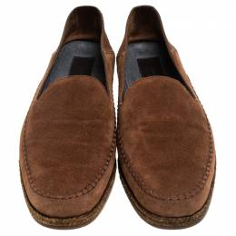 Ermenegildo Zegna Brown Suede Slip On Loafers Size 41.5 243590