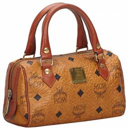 MCM Brown Visetos Leather Satchel 234341