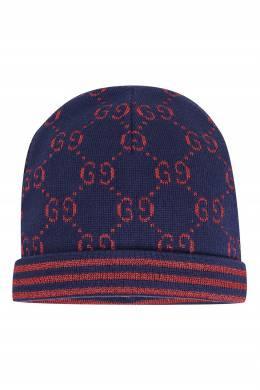 Синяя шапка с монограммами Gucci Kids 1256164860