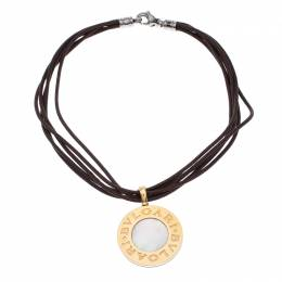 Bvlgari Reversible 18K Yellow Gold with MOP & Steel with Onyx Pendant Leather Cord Necklace 244049