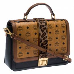 MCM Brown Visetos Cognac Coated Canvas and Leather Top Handle Bag 241822