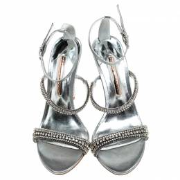 Sophia Webster Metallic Silver Fabric Rosalind Crystal Embellished Heel Ankle Strap Sandals Size 39 241257