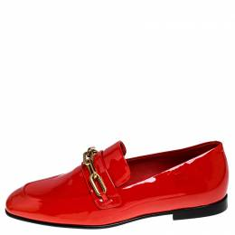 Burberry Red Patent Leather Chillcot Loafers Size 38