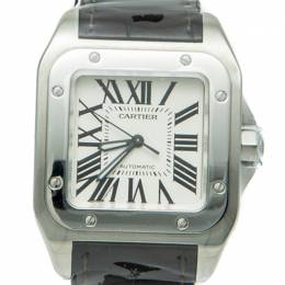 Cartier Santos 100 White Dial Stainless Steel Automatic Watch 35.5MM