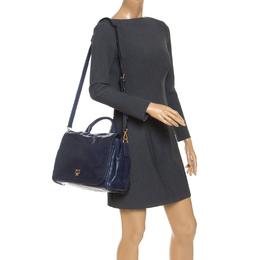 MCM Blue Vitello Leather Top Handle Bag 240919