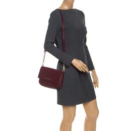MICHAEL Michael Kors Maroon Saffiano Leather Flap Crossbody Bag
