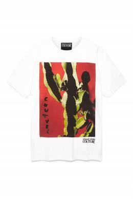 Белая футболка с кактусом Versace Jeans 3025165802