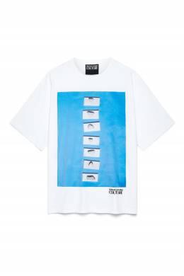 Бело-голубая футболка с принтом Versace Jeans 3025165803