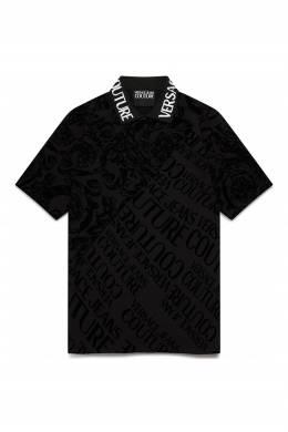 Черное поло с надписями Versace Jeans 3025165807
