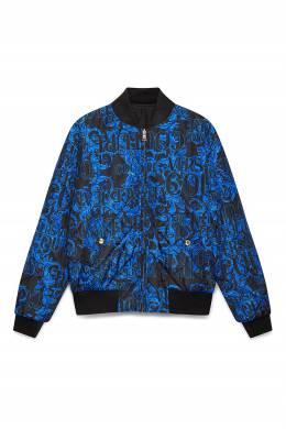 Синий бомбер на молнии Versace Jeans 3025165784
