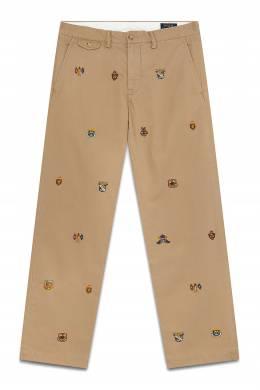 Бежевые брюки с вышивкой Polo Ralph Lauren 3023165647