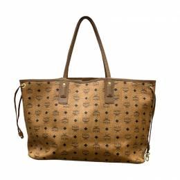 MCM Cognac Visetos Coated Canvas Shopping Tote 245101