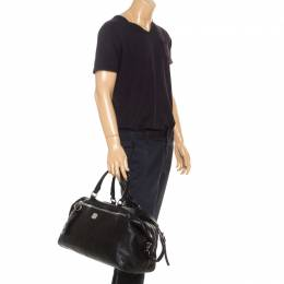 MCM Black Leather Duffle Bag 241296