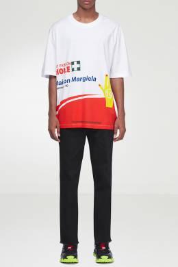 Белая футболка с контрастным принтом Maison Margiela 1350165494