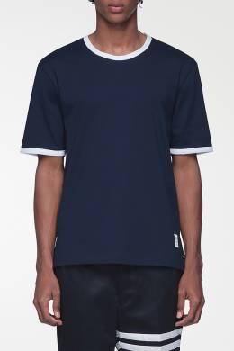 Темно-синяя футболка с контрастной отделкой Thom Browne 2875165521