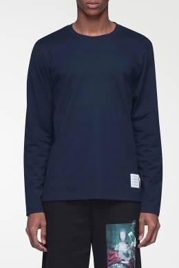 Базовый темно-синий лонгслив с нашивкой Thom Browne 2875165520