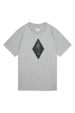 Серая футболка с принтом C.P. Company 1929166135