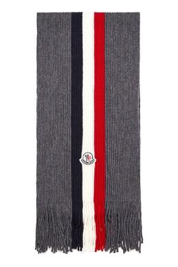 Серый шарф с триколором Moncler 34166146