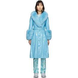 Saks Potts SSENSE Exclusive Blue Shearling Foxy Gloss Coat 201231F06400302GB