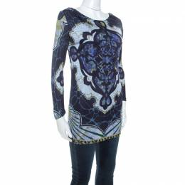 Emilio Pucci Multicolor Printed Stretch Long Sleeve Top S 244267