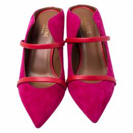 Malone Souliers Pink/Red Suede And Leather Maureen Pointed Toe Mules Size 37.5 244579