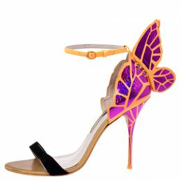 Sophia Webster Black Suede and Fuchsia Leather Chiara Butterfly Open Toe Sandals Size 41.5 243585