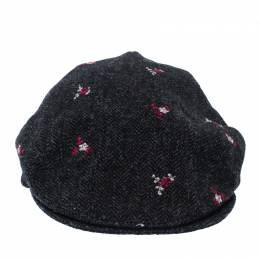 Dolce&Gabbana Grey Floral Embroidered Tweed Flat Cap
