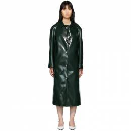 Christopher Kane Green Coated Jersey Coat 192170F05900101GB