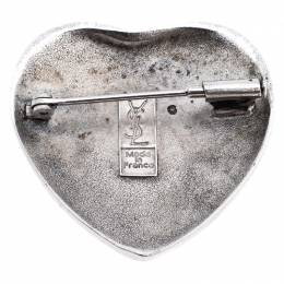 Saint Laurent Paris Blue Crystal Sterling Silver Heart-Shaped Brooch