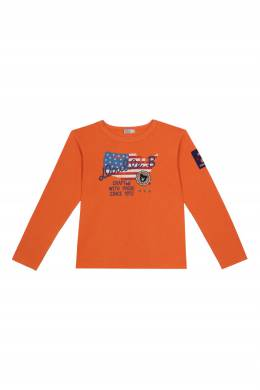 Оранжевый лонгслив с флагом США Miki House 3018166007
