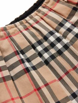 Pleated Check Cotton Muslin Skirt Burberry 71I937039-QU5JUVVFWUVMTE9X0