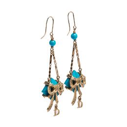 Dior Blue Stone Crystal Rose Gold Tone Hook Earrings