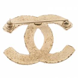 Chanel Crystal CC Studded Gold Tone Pin Brooch 245768