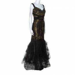 Marchesa Notte Black and Gold Lace and Tulle Gown M 243818