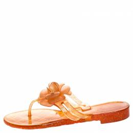 Chanel Orange Glitter Jelly Camellia Thong Flat Sandals Size 39 245969