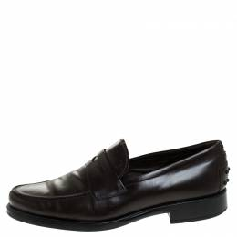 Tod's Brown Leather Penny Slip On Loafers Size 44 Tod's
