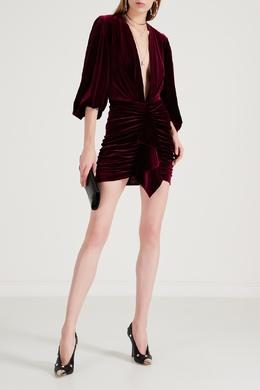 Асимметричное бархатное платье макси бордового цвета Alexandre Vauthier 356166528