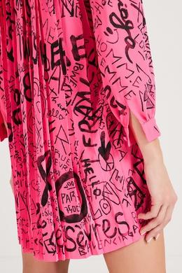 Розовое платье с логотипным принтом Balenciaga 397166559