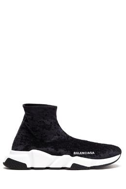 Черные бархатные кроссовки-носки Speed Balenciaga 397166566
