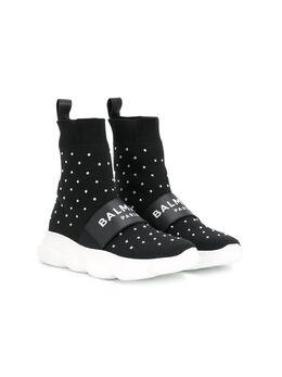 Balmain Kids кроссовки-носки в горох 6M0066MX410