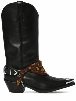70mm Camperos Leather Cowboy Boots Versace 71IWTY012-RDQxUA2