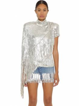 Asymmetric Fringed Stretch Sequin Top Balmain 71IL5Z006-OUZD0