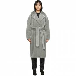 Tibi Grey Faux-Fur Oversized Luxe Coat 201095F05900801GB