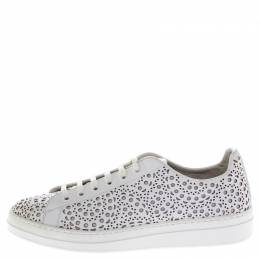 Alaia White Laser Cut Leather Lace Up Sneakers Size 41
