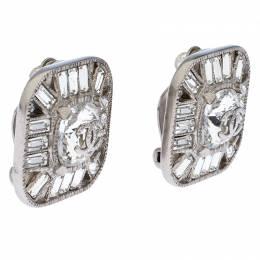 Chanel CC Crystal Silver Tone Clip-on Stud Earrings