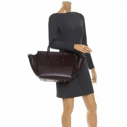 Celine Burgundy Leather Small Tie Tote 245911