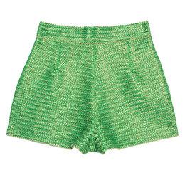 Ermano Scervino Green and Gold Chevron Knit Woven Shorts S Ermanno Scervino 245422